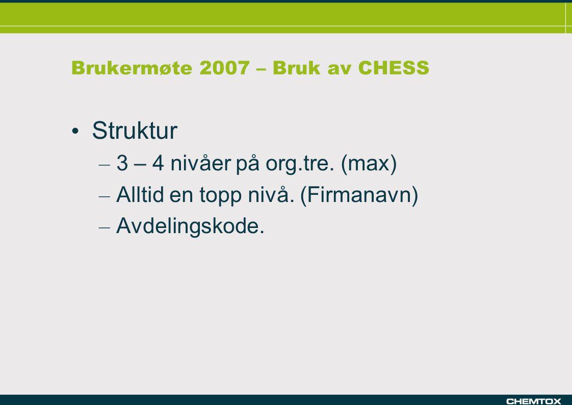 Brukermøte 2007 – Bruk av CHESS Struktur – 3 – 4 nivåer på org.tre.