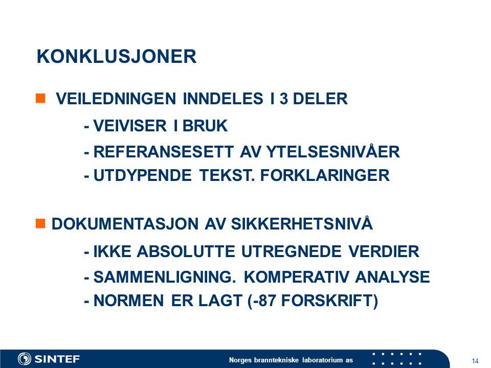 Norges branntekniske laboratorium as 14 KONKLUSJONER VEILEDNINGEN INNDELES I 3 DELER - VEIVISER I BRUK - REFERANSESETT AV YTELSESNIVÅER - UTDYPENDE TEKST.