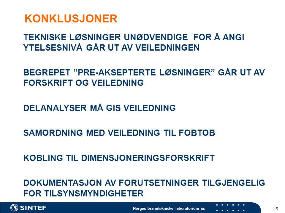 Norges branntekniske laboratorium as 15 KONKLUSJONER TEKNISKE LØSNINGER UNØDVENDIGE FOR Å ANGI YTELSESNIVÅ GÅR UT AV VEILEDNINGEN BEGREPET PRE-AKSEPTERTE LØSNINGER GÅR UT AV FORSKRIFT OG VEILEDNING DELANALYSER MÅ GIS VEILEDNING SAMORDNING MED VEILEDNING TIL FOBTOB KOBLING TIL DIMENSJONERINGSFORSKRIFT DOKUMENTASJON AV FORUTSETNINGER TILGJENGELIG FOR TILSYNSMYNDIGHETER