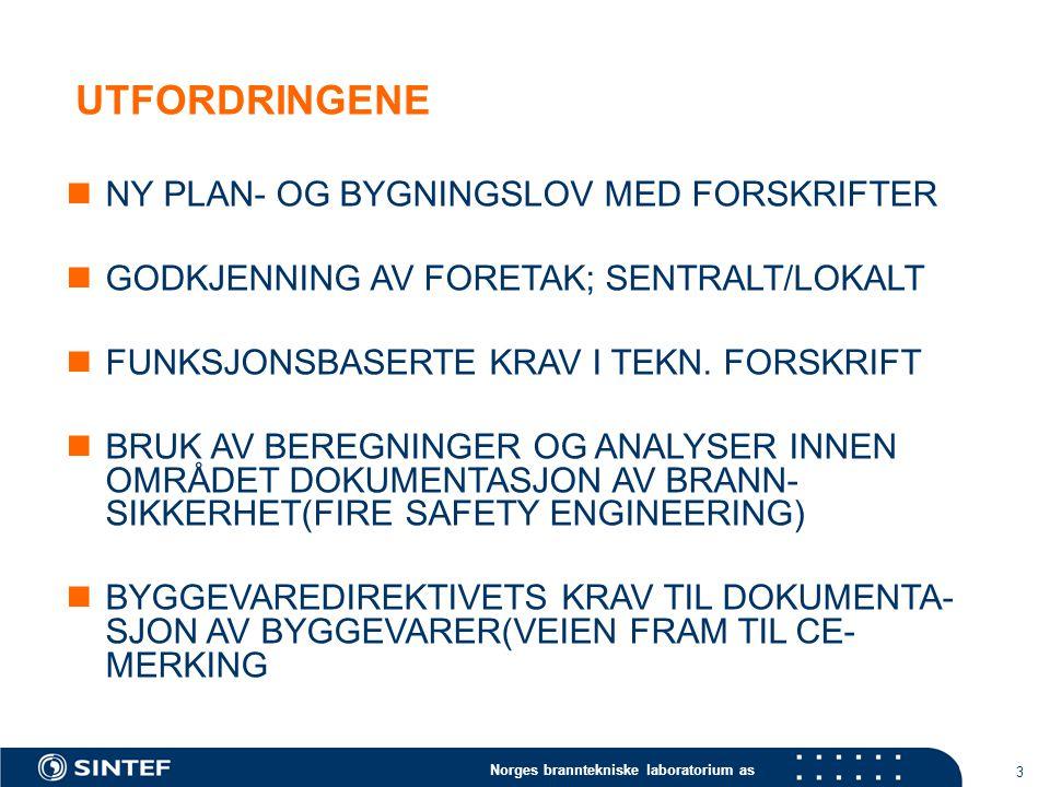 Norges branntekniske laboratorium as 3 UTFORDRINGENE NY PLAN- OG BYGNINGSLOV MED FORSKRIFTER GODKJENNING AV FORETAK; SENTRALT/LOKALT FUNKSJONSBASERTE KRAV I TEKN.
