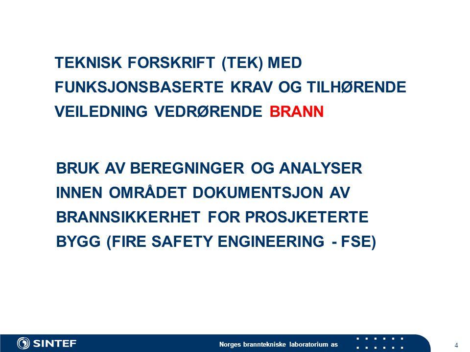 Norges branntekniske laboratorium as 4 BRUK AV BEREGNINGER OG ANALYSER INNEN OMRÅDET DOKUMENTSJON AV BRANNSIKKERHET FOR PROSJKETERTE BYGG (FIRE SAFETY ENGINEERING - FSE) TEKNISK FORSKRIFT (TEK) MED FUNKSJONSBASERTE KRAV OG TILHØRENDE VEILEDNING VEDRØRENDE BRANN