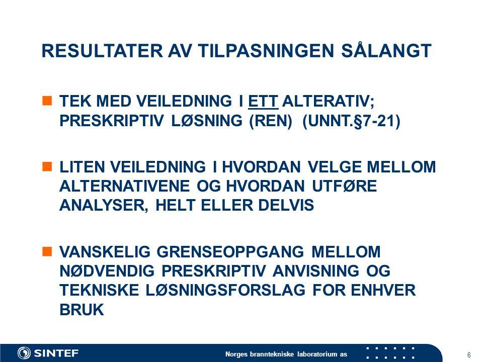 Norges branntekniske laboratorium as 6 RESULTATER AV TILPASNINGEN SÅLANGT TEK MED VEILEDNING I ETT ALTERATIV; PRESKRIPTIV LØSNING (REN) (UNNT.§7-21) LITEN VEILEDNING I HVORDAN VELGE MELLOM ALTERNATIVENE OG HVORDAN UTFØRE ANALYSER, HELT ELLER DELVIS VANSKELIG GRENSEOPPGANG MELLOM NØDVENDIG PRESKRIPTIV ANVISNING OG TEKNISKE LØSNINGSFORSLAG FOR ENHVER BRUK