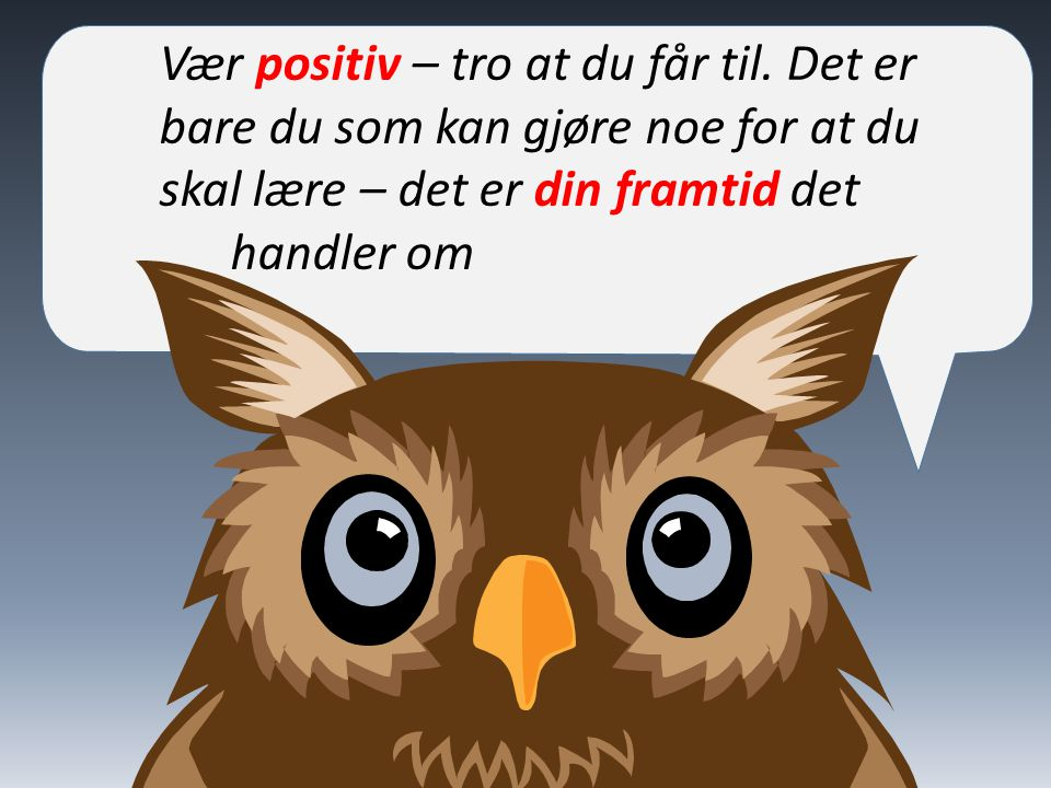 Vær positiv – tro at du får til. Det er bare du som kan gjøre noe for at du skal lære – det er din framtid det handler om