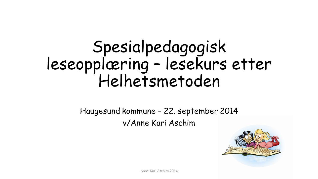 Spesialpedagogisk leseopplæring – lesekurs etter Helhetsmetoden Haugesund kommune – 22. september 2014 v/Anne Kari Aschim Anne Kari Aschim 2014