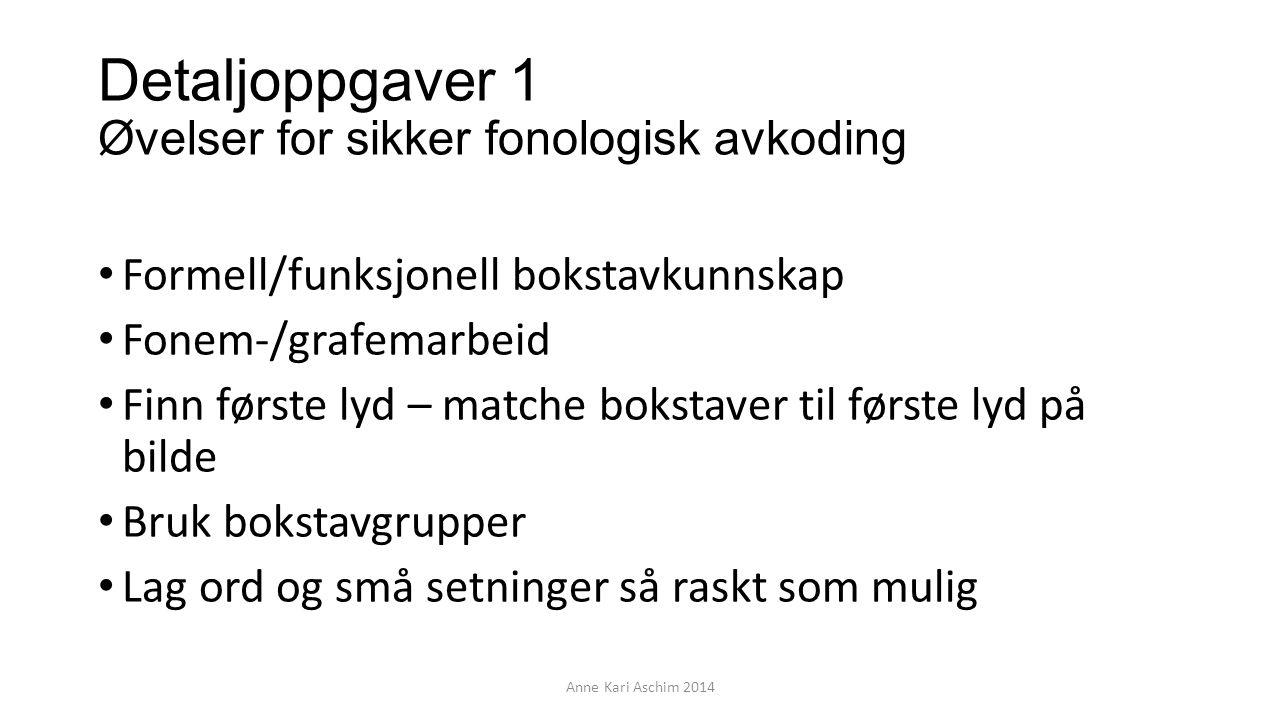 Detaljoppgaver 1 Øvelser for sikker fonologisk avkoding Formell/funksjonell bokstavkunnskap Fonem-/grafemarbeid Finn første lyd – matche bokstaver til