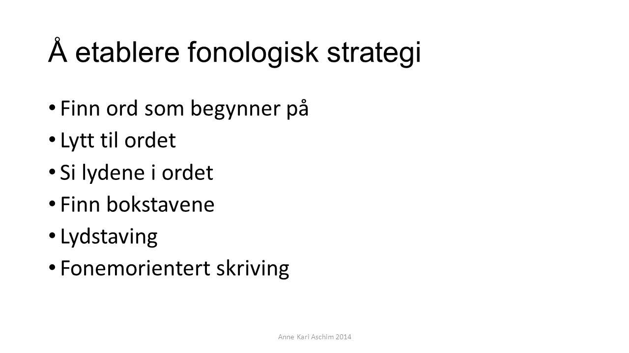 Å etablere fonologisk strategi Finn ord som begynner på Lytt til ordet Si lydene i ordet Finn bokstavene Lydstaving Fonemorientert skriving Anne Kari