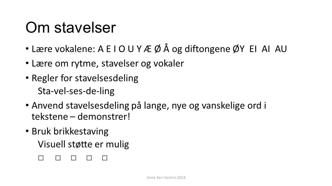 Om stavelser Lære vokalene: A E I O U Y Æ Ø Å og diftongene ØY EI AI AU Lære om rytme, stavelser og vokaler Regler for stavelsesdeling Sta-vel-ses-de-