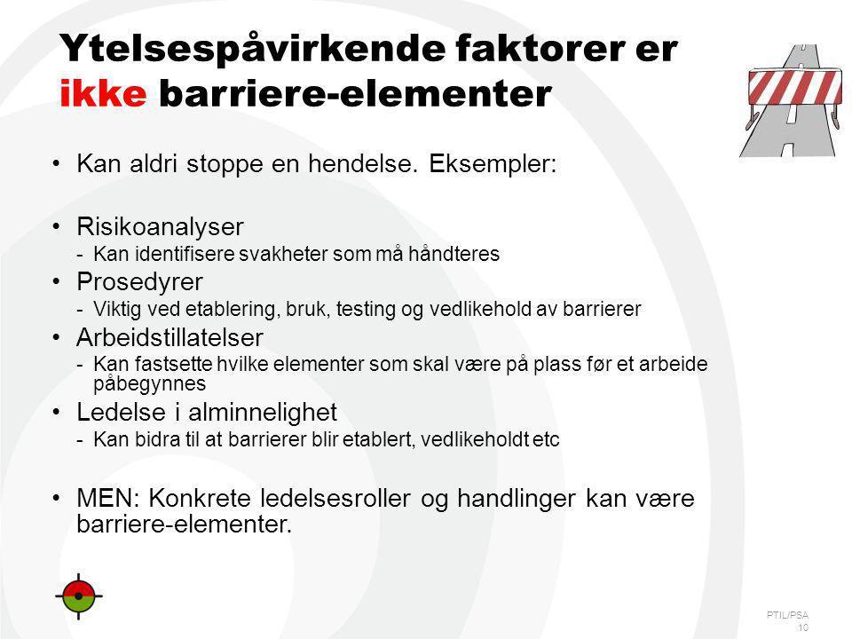 PTIL/PSA Ytelsespåvirkende faktorer er ikke barriere-elementer Kan aldri stoppe en hendelse. Eksempler: Risikoanalyser -Kan identifisere svakheter som