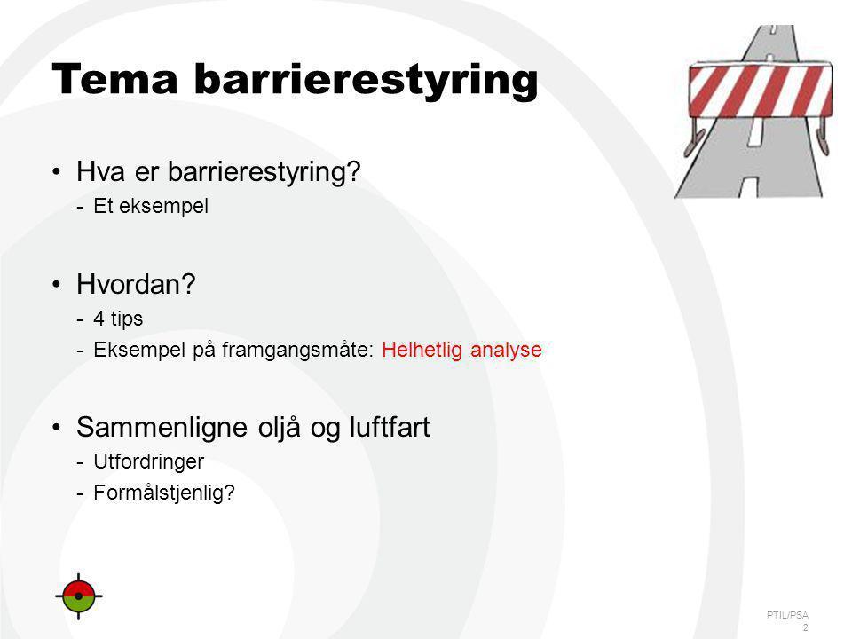 PTIL/PSA Tema barrierestyring Hva er barrierestyring? -Et eksempel Hvordan? -4 tips -Eksempel på framgangsmåte: Helhetlig analyse Sammenligne oljå og