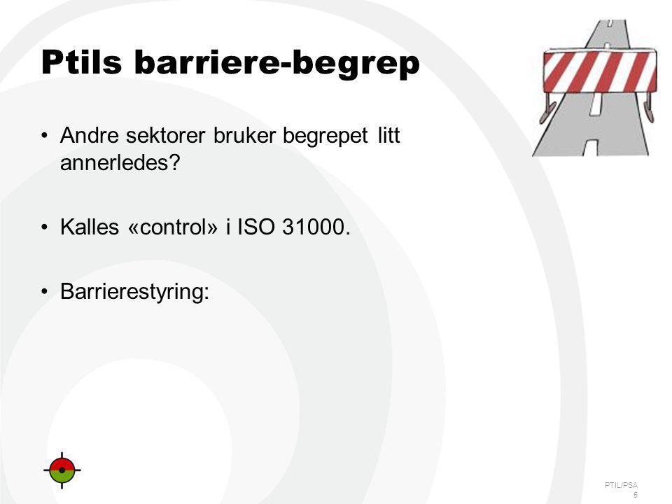 PTIL/PSA Ptils barriere-begrep Andre sektorer bruker begrepet litt annerledes? Kalles «control» i ISO 31000. Barrierestyring: 5