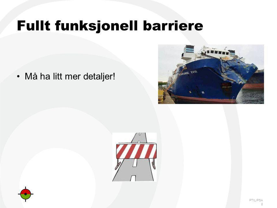 PTIL/PSA Definisjoner Barrierefunksjon: Oppgaven til barrieren -Redusere mulighet for hendelse, eller begrense skade -Eksempel: Forhindre skipskollisjon.