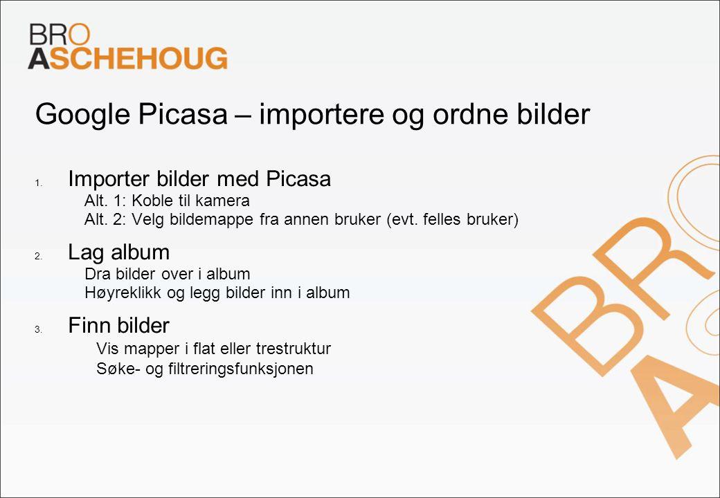 Google Picasa – importere og ordne bilder 1. Importer bilder med Picasa – Alt. 1: Koble til kamera – Alt. 2: Velg bildemappe fra annen bruker (evt. fe
