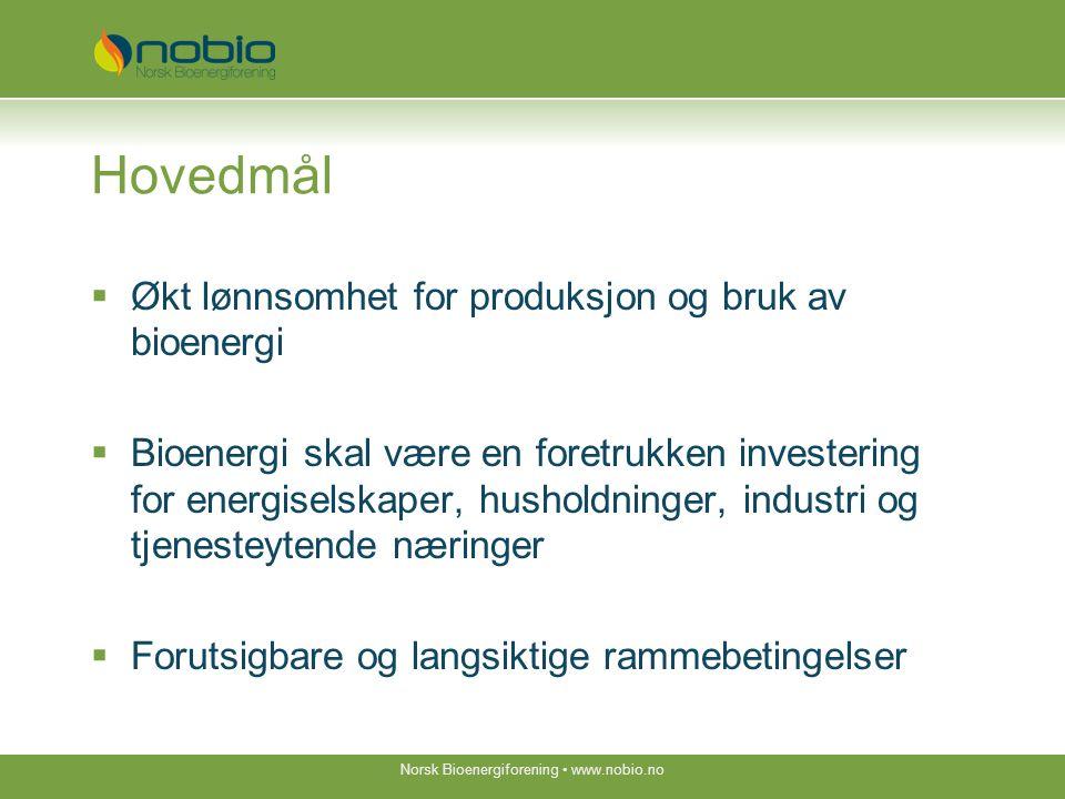 Indikatorer innen 2020  Økt bruk av bioenergi tilsvarende 28 TWh (15mm 3 )  Økt bruk av biodrivstoff til 10% av omsetningen  Økt avkastning i fjernvarme og varmesektoren til 12%  Øke verdiskapning (7,5 mrd) og sysselsetting til 1.500  Øke antall medlemmer i Nobio til 250  Øke Nobios EK til MNOK 1 Norsk Bioenergiforening www.nobio.no