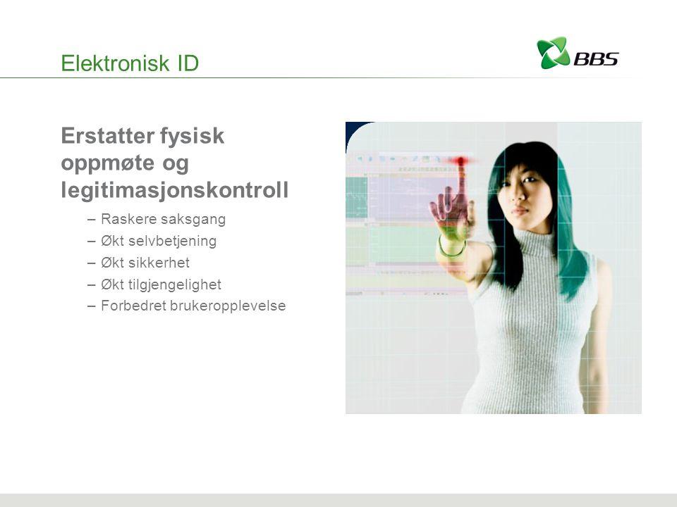 Elektronisk ID Erstatter fysisk oppmøte og legitimasjonskontroll –Raskere saksgang –Økt selvbetjening –Økt sikkerhet –Økt tilgjengelighet –Forbedret brukeropplevelse
