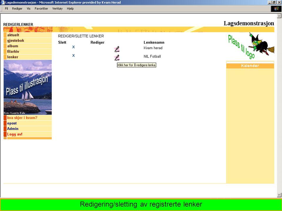Redigering/sletting av registrerte lenker