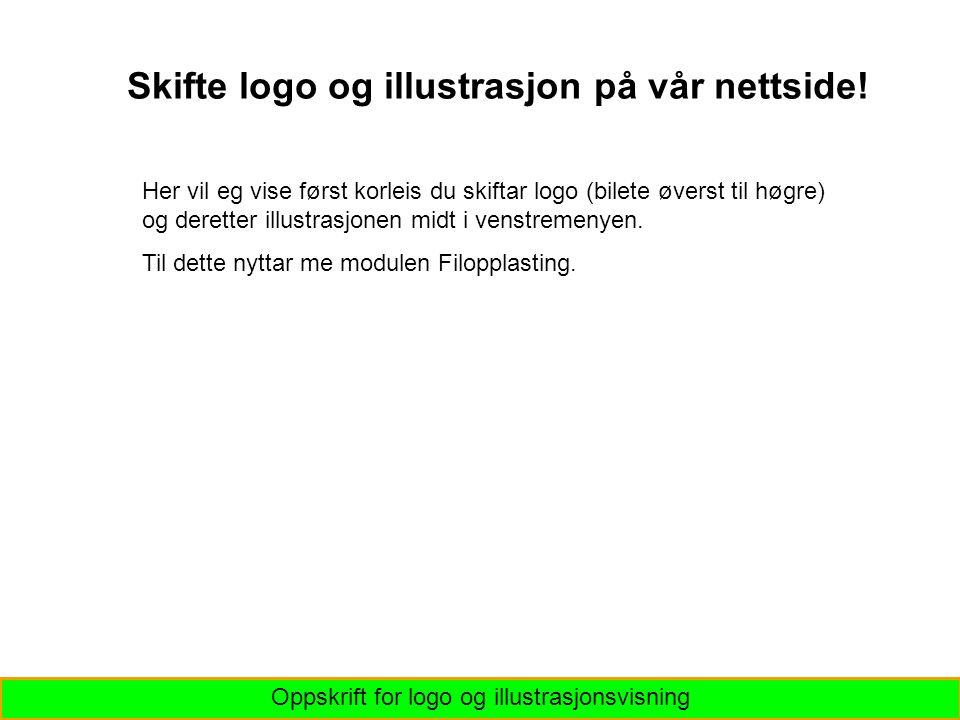 Oppskrift for logo og illustrasjonsvisning Skifte logo og illustrasjon på vår nettside.