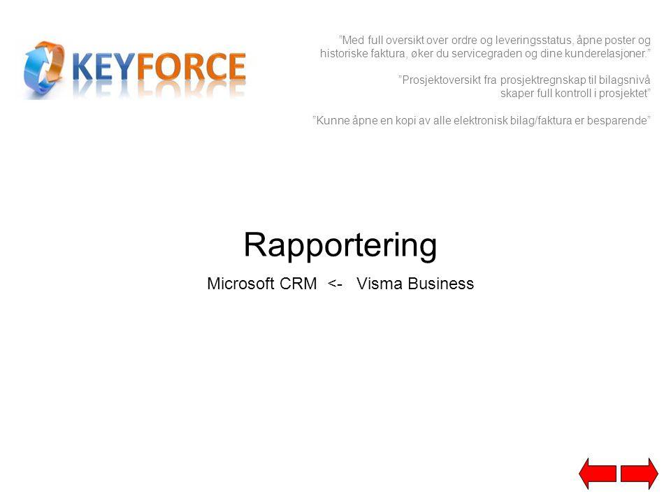 """Rapportering Microsoft CRM <- Visma Business """"Med full oversikt over ordre og leveringsstatus, åpne poster og historiske faktura, øker du servicegrade"""