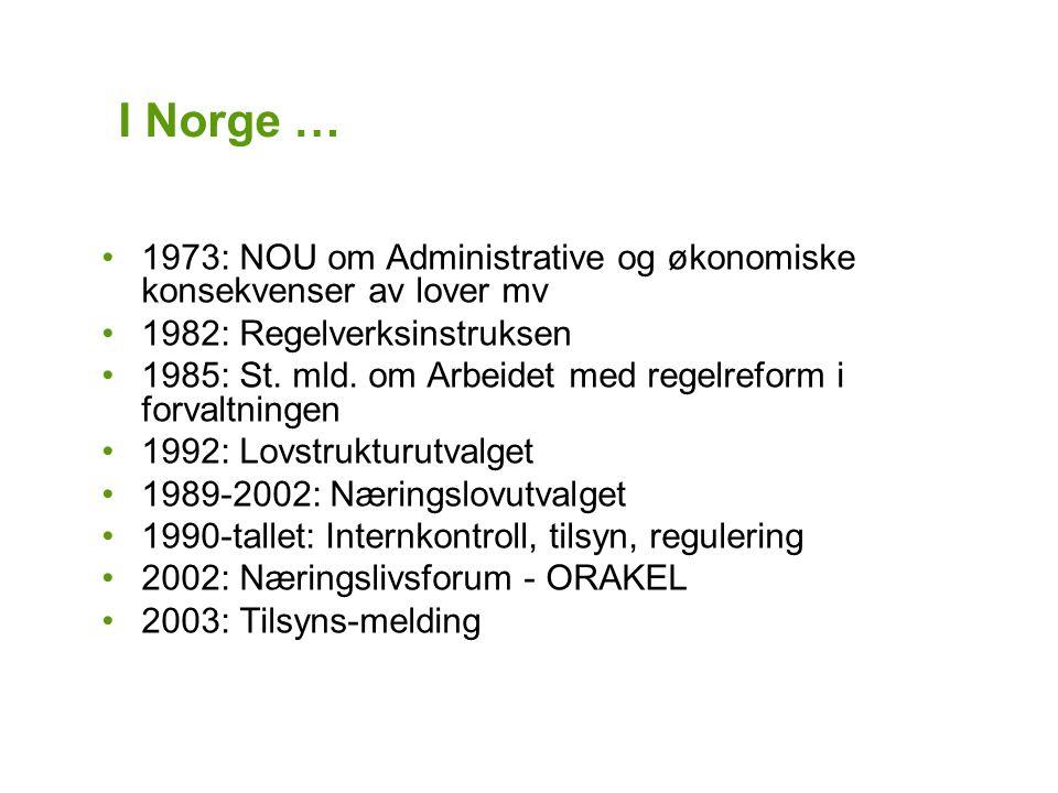 I Norge … 1973: NOU om Administrative og økonomiske konsekvenser av lover mv 1982: Regelverksinstruksen 1985: St.