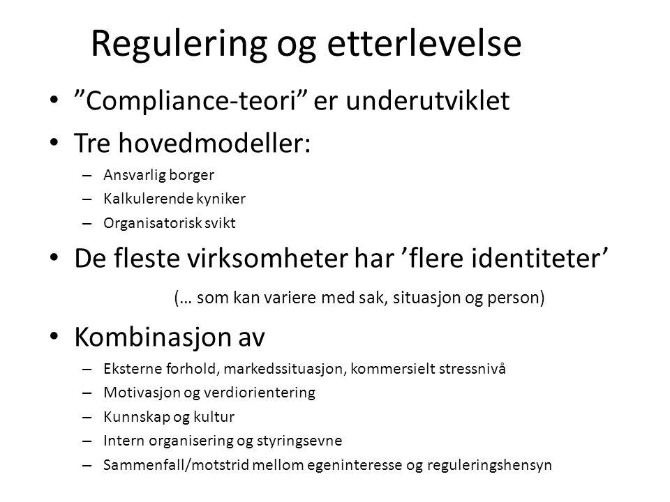 Regulering og etterlevelse Compliance-teori er underutviklet Tre hovedmodeller: – Ansvarlig borger – Kalkulerende kyniker – Organisatorisk svikt De fleste virksomheter har 'flere identiteter' (… som kan variere med sak, situasjon og person) Kombinasjon av – Eksterne forhold, markedssituasjon, kommersielt stressnivå – Motivasjon og verdiorientering – Kunnskap og kultur – Intern organisering og styringsevne – Sammenfall/motstrid mellom egeninteresse og reguleringshensyn