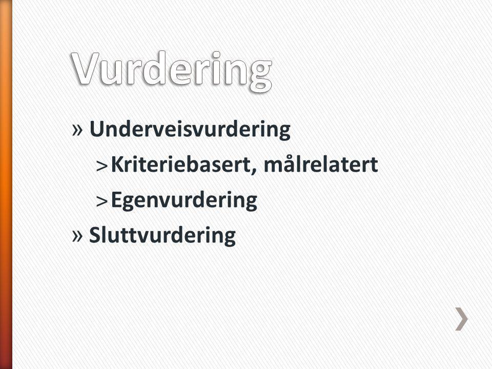 » Underveisvurdering ˃Kriteriebasert, målrelatert ˃Egenvurdering » Sluttvurdering
