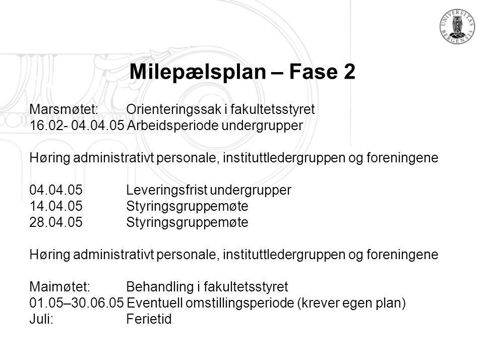 Milepælsplan – Fase 2 Marsmøtet: Orienteringssak i fakultetsstyret 16.02- 04.04.05 Arbeidsperiode undergrupper Høring administrativt personale, instit