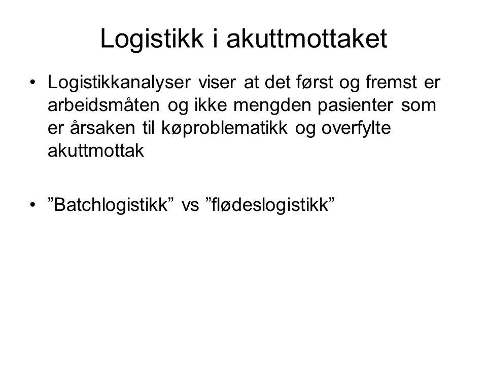 Logistikk i akuttmottaket Logistikkanalyser viser at det først og fremst er arbeidsmåten og ikke mengden pasienter som er årsaken til køproblematikk o