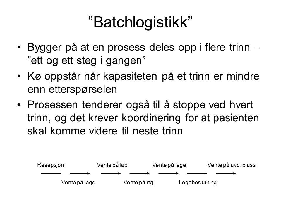 """""""Batchlogistikk"""" Bygger på at en prosess deles opp i flere trinn – """"ett og ett steg i gangen"""" Kø oppstår når kapasiteten på et trinn er mindre enn ett"""