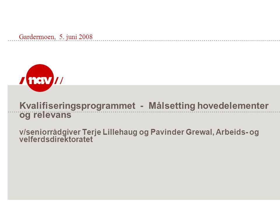 Kvalifiseringsprogrammet - Målsetting hovedelementer og relevans v/seniorrådgiver Terje Lillehaug og Pavinder Grewal, Arbeids- og velferdsdirektoratet
