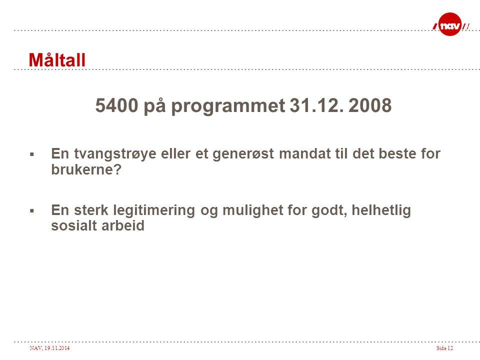 NAV, 19.11.2014Side 12 Måltall 5400 på programmet 31.12. 2008  En tvangstrøye eller et generøst mandat til det beste for brukerne?  En sterk legitim