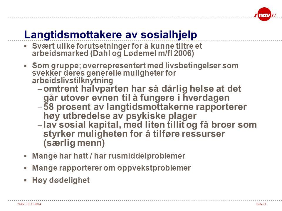 NAV, 19.11.2014Side 21 Langtidsmottakere av sosialhjelp  Svært ulike forutsetninger for å kunne tiltre et arbeidsmarked (Dahl og Lødemel m/fl 2006) 