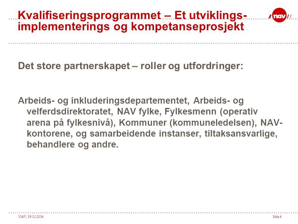 NAV, 19.11.2014Side 4 Kvalifiseringsprogrammet – Et utviklings- implementerings og kompetanseprosjekt Det store partnerskapet – roller og utfordringer