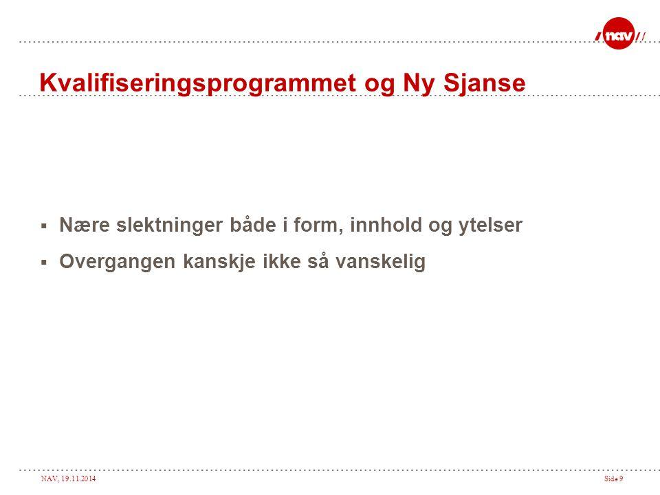 NAV, 19.11.2014Side 9 Kvalifiseringsprogrammet og Ny Sjanse  Nære slektninger både i form, innhold og ytelser  Overgangen kanskje ikke så vanskelig