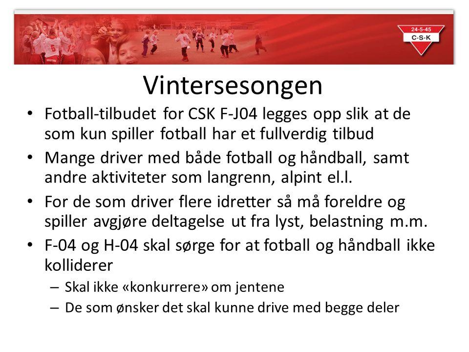 Vintersesongen Fotball-tilbudet for CSK F-J04 legges opp slik at de som kun spiller fotball har et fullverdig tilbud Mange driver med både fotball og
