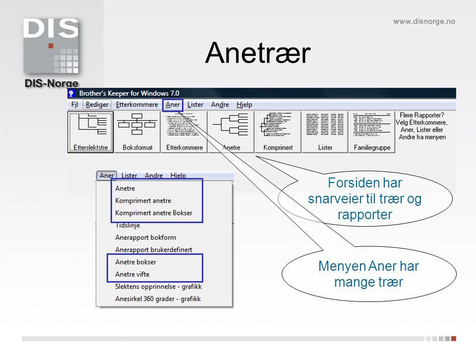 Anetrær Forsiden har snarveier til trær og rapporter Menyen Aner har mange trær