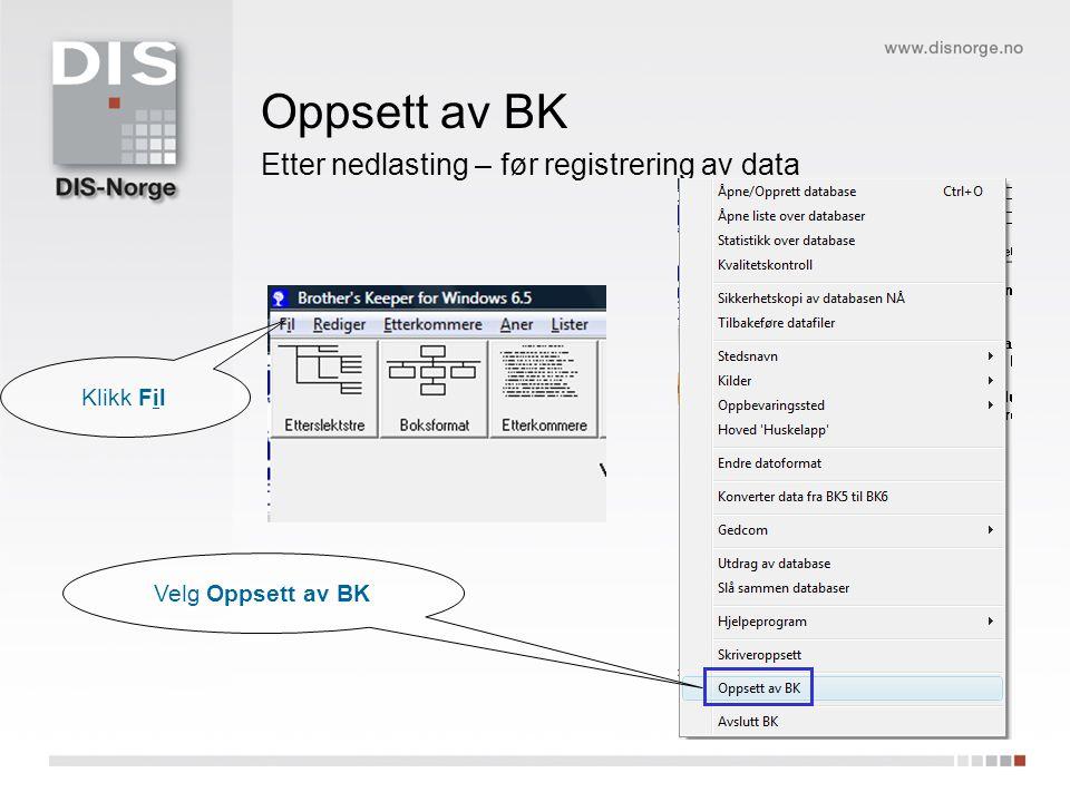 Etter nedlasting – før registrering av data Oppsett av BK Klikk Fil Velg Oppsett av BK