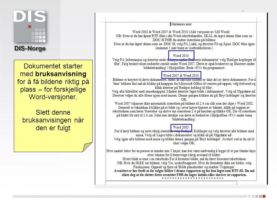Dokumentet starter med bruksanvisning for å få bildene riktig på plass – for forskjellige Word-versjoner.