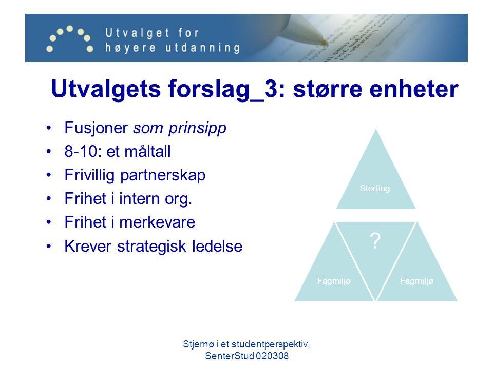 Utvalgets forslag_3: større enheter Fusjoner som prinsipp 8-10: et måltall Frivillig partnerskap Frihet i intern org. Frihet i merkevare Krever strate