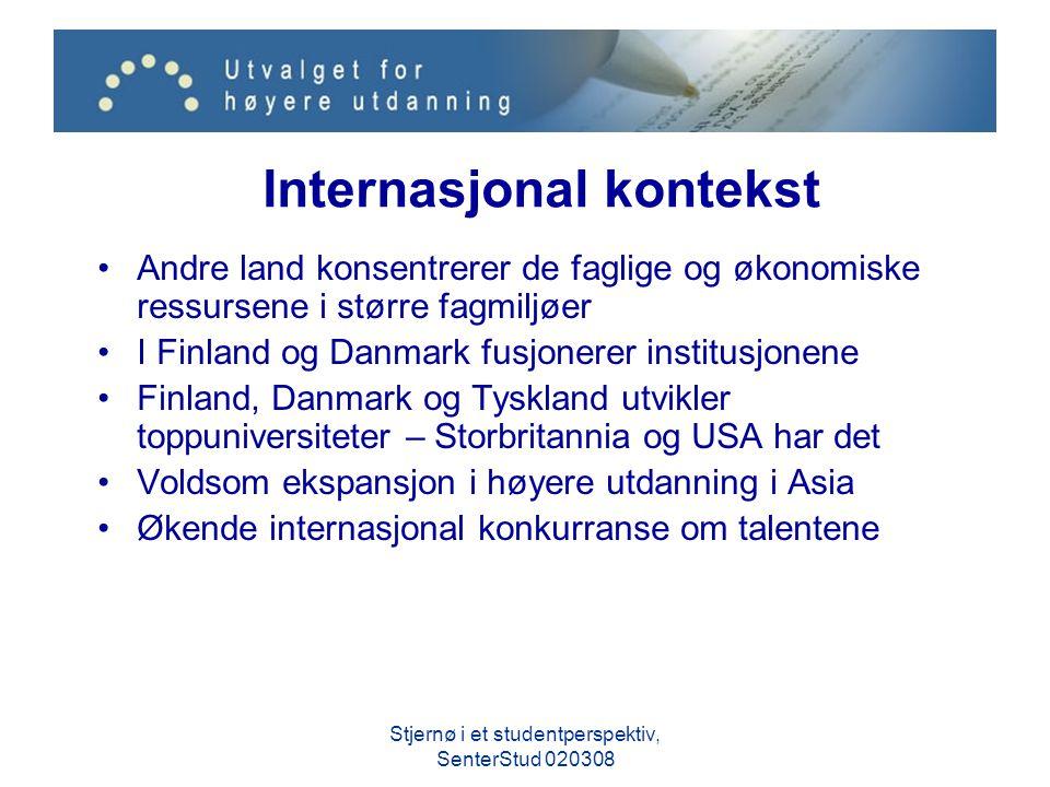 Internasjonal kontekst Andre land konsentrerer de faglige og økonomiske ressursene i større fagmiljøer I Finland og Danmark fusjonerer institusjonene