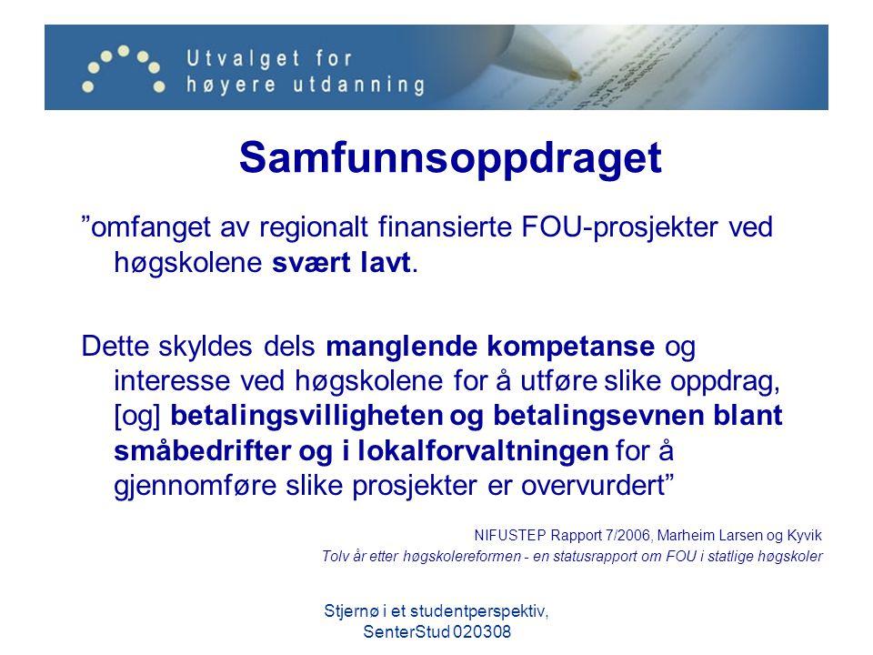 """Samfunnsoppdraget """"omfanget av regionalt finansierte FOU-prosjekter ved høgskolene svært lavt. Dette skyldes dels manglende kompetanse og interesse ve"""