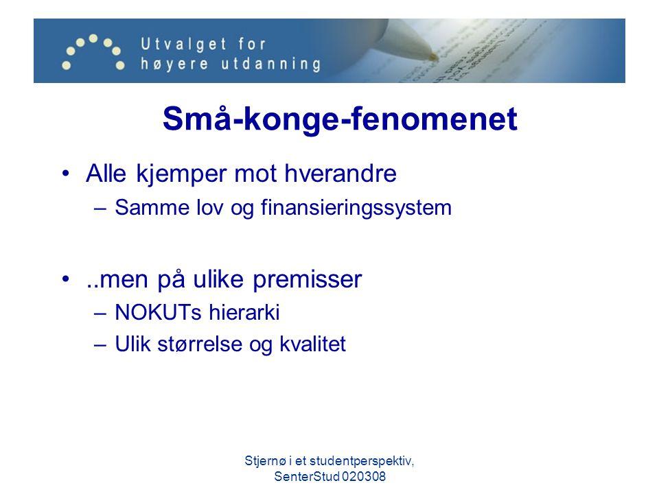 Små-konge-fenomenet Alle kjemper mot hverandre –Samme lov og finansieringssystem..men på ulike premisser –NOKUTs hierarki –Ulik størrelse og kvalitet