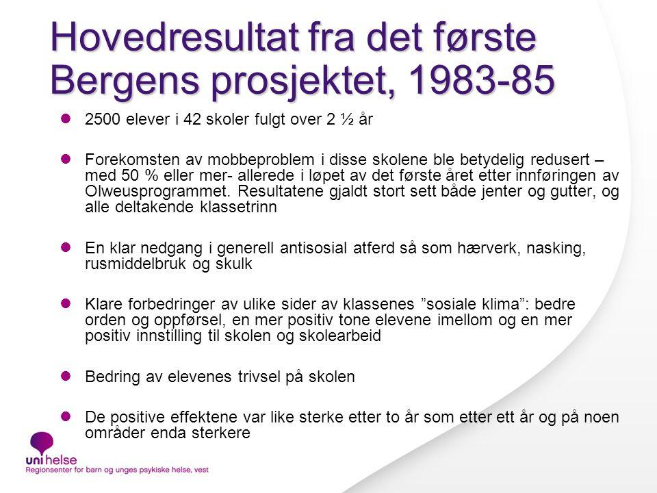 Hovedresultat fra det første Bergens prosjektet, 1983-85 2500 elever i 42 skoler fulgt over 2 ½ år Forekomsten av mobbeproblem i disse skolene ble betydelig redusert – med 50 % eller mer- allerede i løpet av det første året etter innføringen av Olweusprogrammet.