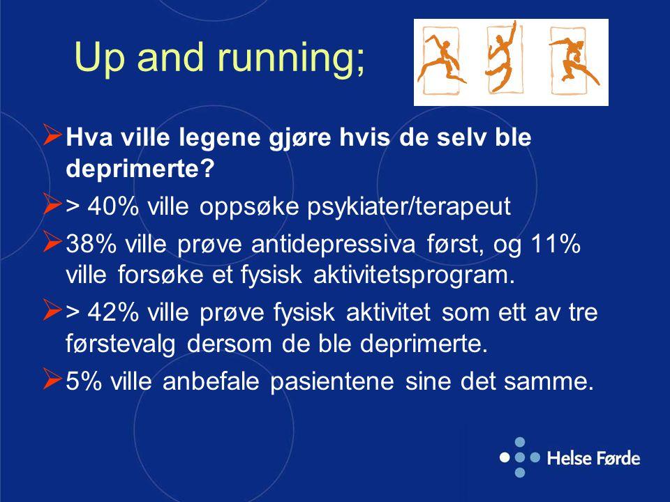 Up and running;  Hva ville legene gjøre hvis de selv ble deprimerte?  > 40% ville oppsøke psykiater/terapeut  38% ville prøve antidepressiva først,