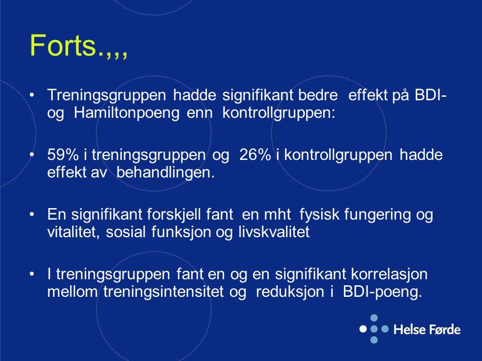 Forts.,,, Treningsgruppen hadde signifikant bedre effekt på BDI- og Hamiltonpoeng enn kontrollgruppen: 59% i treningsgruppen og 26% i kontrollgruppen