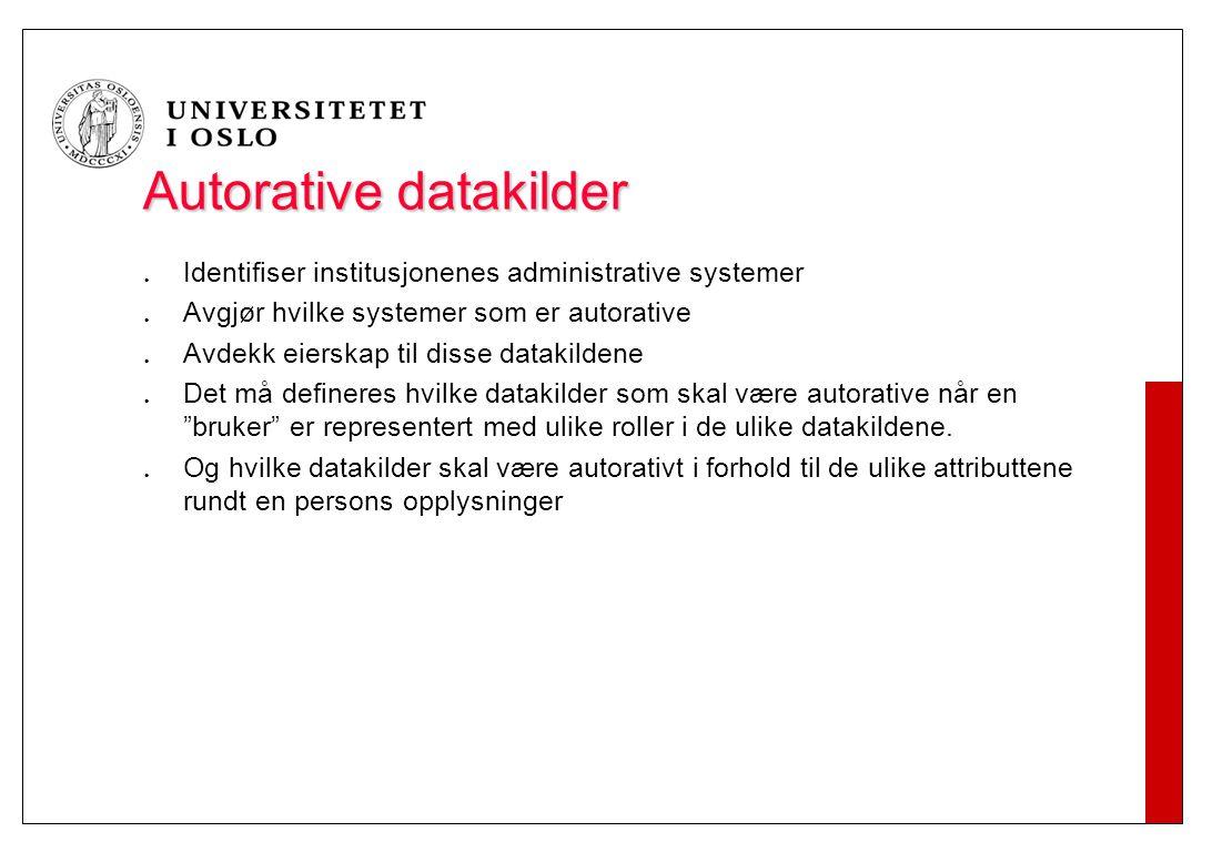 Autorative datakilder Identifiser institusjonenes administrative systemer Avgjør hvilke systemer som er autorative Avdekk eierskap til disse datakilde