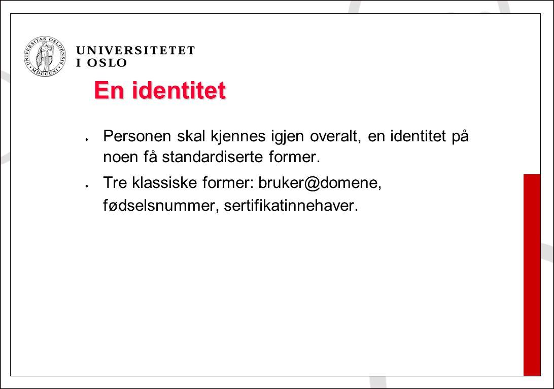 En identitet Personen skal kjennes igjen overalt, en identitet på noen få standardiserte former. Tre klassiske former: bruker@domene, fødselsnummer, s