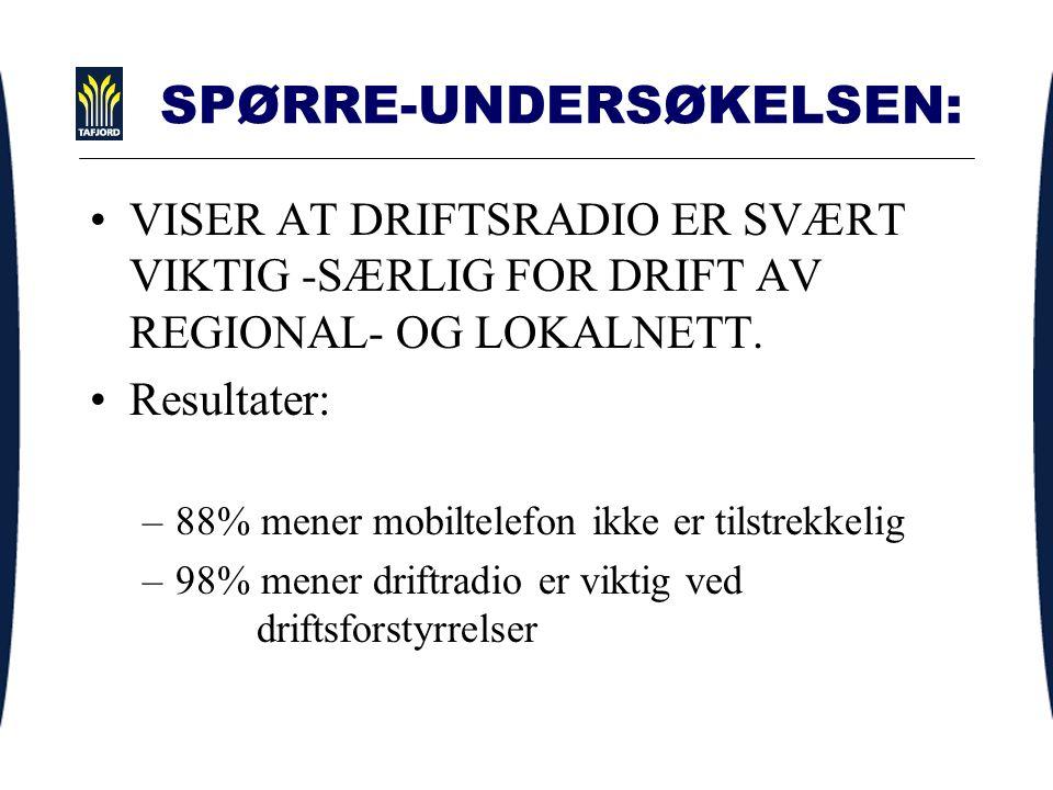 SPØRRE-UNDERSØKELSEN: VISER AT DRIFTSRADIO ER SVÆRT VIKTIG -SÆRLIG FOR DRIFT AV REGIONAL- OG LOKALNETT.