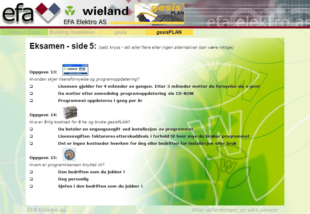 Wieland GroupBuilding Installationgesis gesisPLAN EFA Elektro as Dine utfordringer er vårt ansvar Eksamen - side 5: (sett kryss - ett eller flere eller ingen alternativer kan være riktige) Oppgave 13: Hvordan skjer lisensfornyelse og programoppdatering.