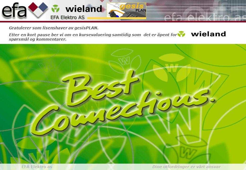 Wieland GroupBuilding Installationgesis gesisPLAN EFA Elektro as Dine utfordringer er vårt ansvar Gratulerer som lisenshaver av gesisPLAN. Etter en ko