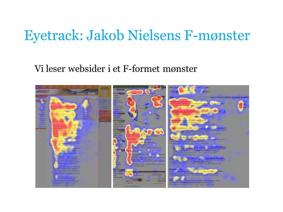 Eyetrack: Jakob Nielsens F-mønster Vi leser websider i et F-formet mønster
