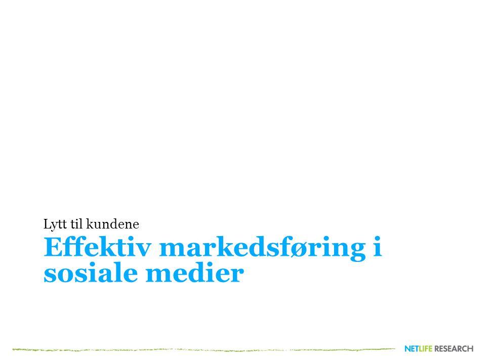 Effektiv markedsføring i sosiale medier Lytt til kundene
